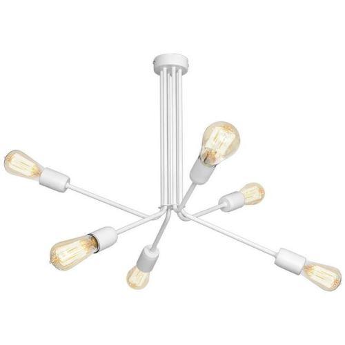 HOMEMANIA Lampe à Suspension Scorpius White - Lustre - Lustre de plafond - Blanc en Métal, 64 x 64 x 51 cm, 6 x E27, 60W