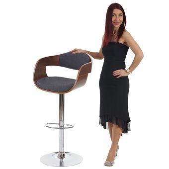 Tabouret De Bar Carlow Chaise Comptoir Design Rtro Bois Proue Aspect Noix Gris Fonc