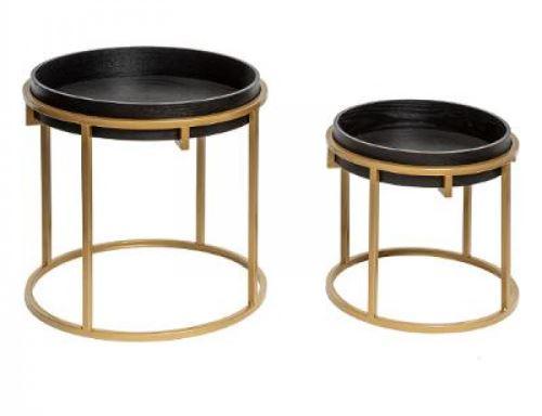 Set de 2 tables à café ronde coloris Noir en fer et MDF -PEGANE-