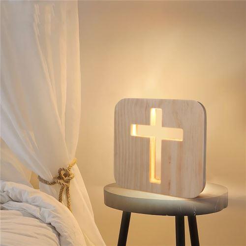 Creative Craft Décoration Lampe en bois Led Lumière Veilleuse Lampe de table wedazano455