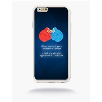 Coque Boxe Compatible Apple Iphone 6 Silicone Blanc Mat