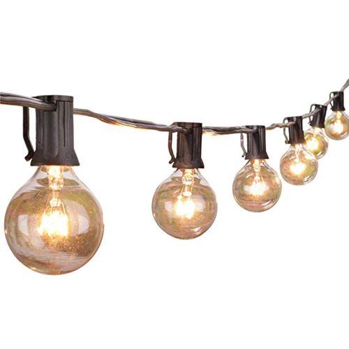 25ft Guirlandes avec Clear ampoules énumérés Cour arrière Patio Eclairage_Home203