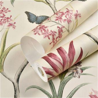 Papier Peint Style Papillon Et Oiseaux A Motif Jardin Floral Pour