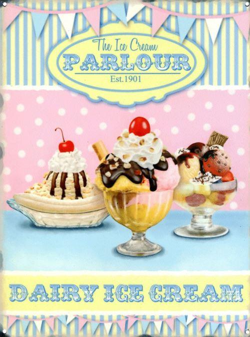 The Ice Cream Parlour Plaque en métal 30 x 40 cm
