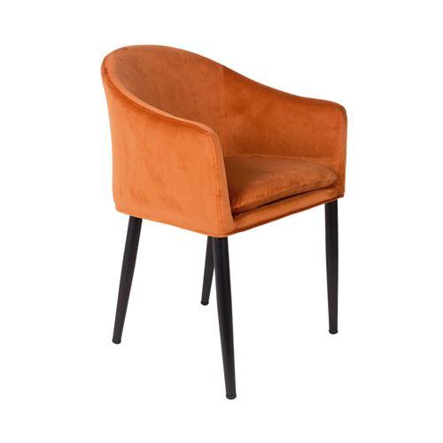 Fauteuil design en velours Catelyn - Couleur - Orange