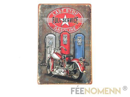 plaque métal déco vintage - station full service moto - last stop (20x30cm)
