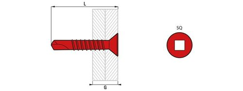 Boîte 250 Vis autoperceuse TFQ acier SCELL-IT - SQ2 - 4.8 x 50 mm - TFQ48050