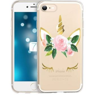 Coque Iphone 6 6S Licorne eyes liberty fleur rose dore unicorn