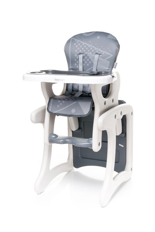 Confortable chaise haute / table enfant FASHI 2en1 - max 15kg - gris