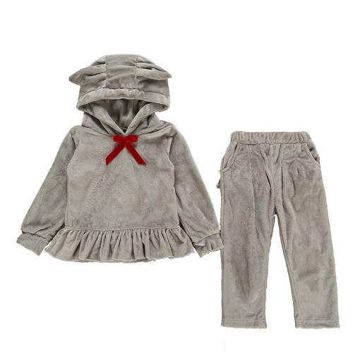 Enfant Tout-Petit Bébé Cartoon Manches Longues à Capuche Hauts + Ruffle Pantalons Tenues Set YEZB300