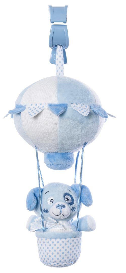 Saro figure suspendue montgolfière avec hochet chien bleu