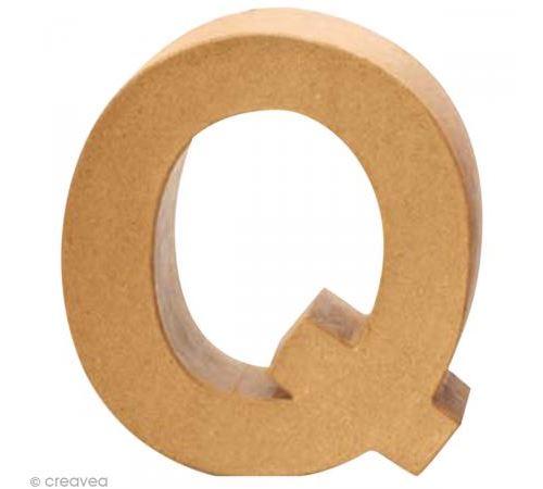 Lettre en carton Q qui tient debout - 17,5 x 17,5 x 5,5 cm