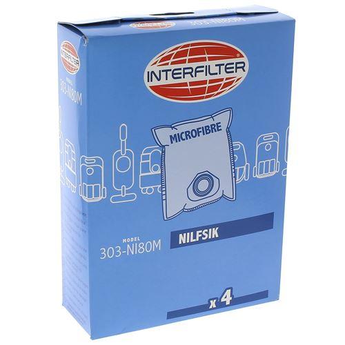 Sacs aspirateur par 4 microfibres pour Aspirateur Nilfisk