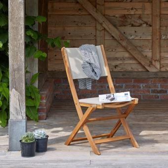 Chaise pliante en bois d\'acacia FSC et textilène - Mobilier de ...