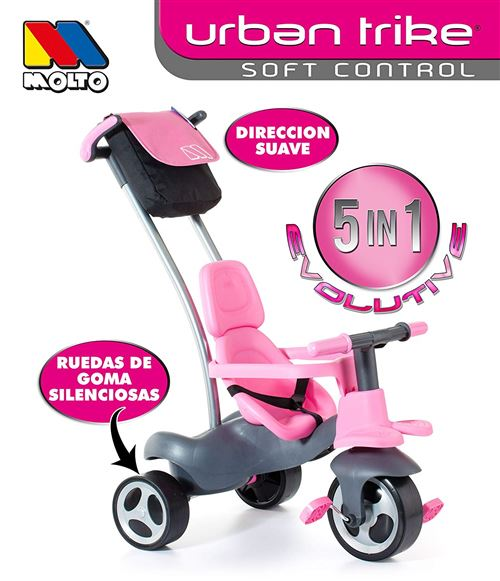 Molto Tricycle Urban trike Easy Control, couleur ROSE (17201)