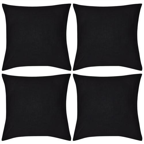 4 housses de coussin en coton 50 x 50 cm Noir