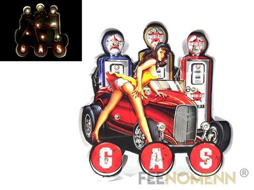 plaque métal lumineuse led - déco murale vintage - gas station voiture pin up (39x38cm)