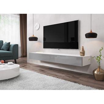 E Com Meuble Tv Armoire Tele Table Television Suspendu Sierra 140 Cm Blanc Gris