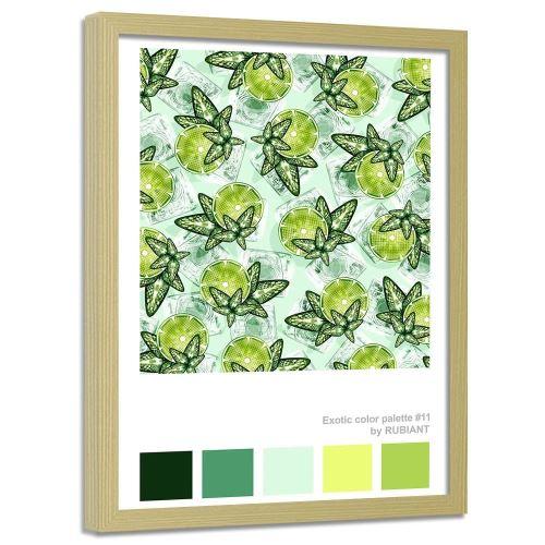 Feeby Tableau Image encadrée moderne mural cadre nature, Citron vert et menthe 70x100 cm