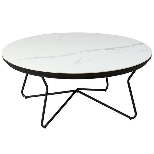 ELBE - Table Basse Ronde Acier et Céramique