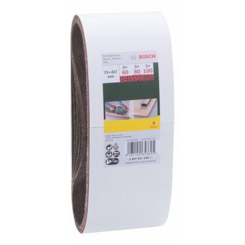 Bosch 2607017156 Bande abrasives-Set 60/80/100 9 pièces, Rouge
