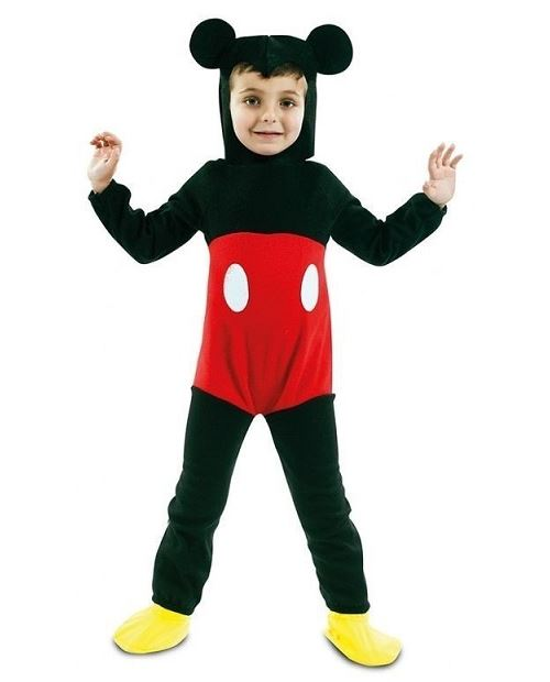 Deguisement - costume classique souris mickey 3/4 ans : combinaison + chapeau oreilles