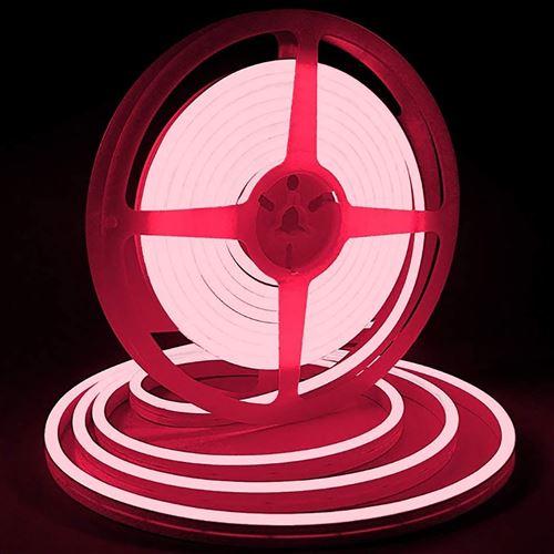 Bande lumineuse LED Silicone souple couleur néon étanche DC 12V 5m -rouge