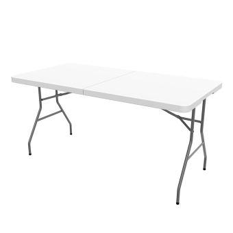 Todeco - Table Pliante Transportable, Table en Plastique Robuste, 152 x 76  cm, Blanc, Pliable en deux, Matériau: HDPE