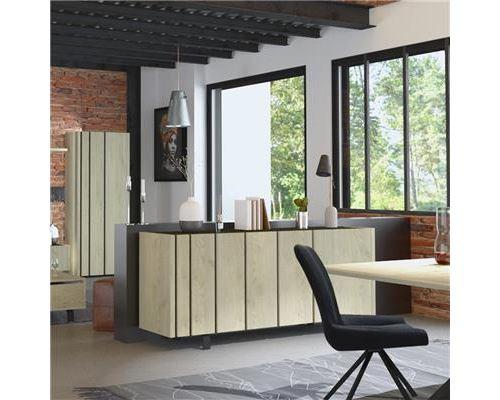 Buffet 3 portes industriel couleur bois et effet béton JEFFREY