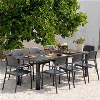 Nouvomeuble - Table de jardin extensible anthracite en aluminium ...