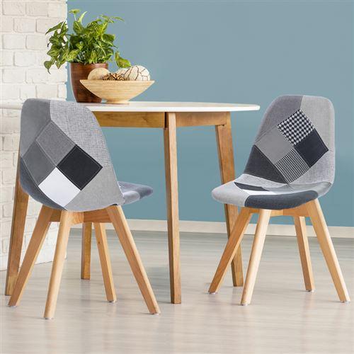 Lot de 2 chaises SARA motifs patchworks noirs, gris et blancs