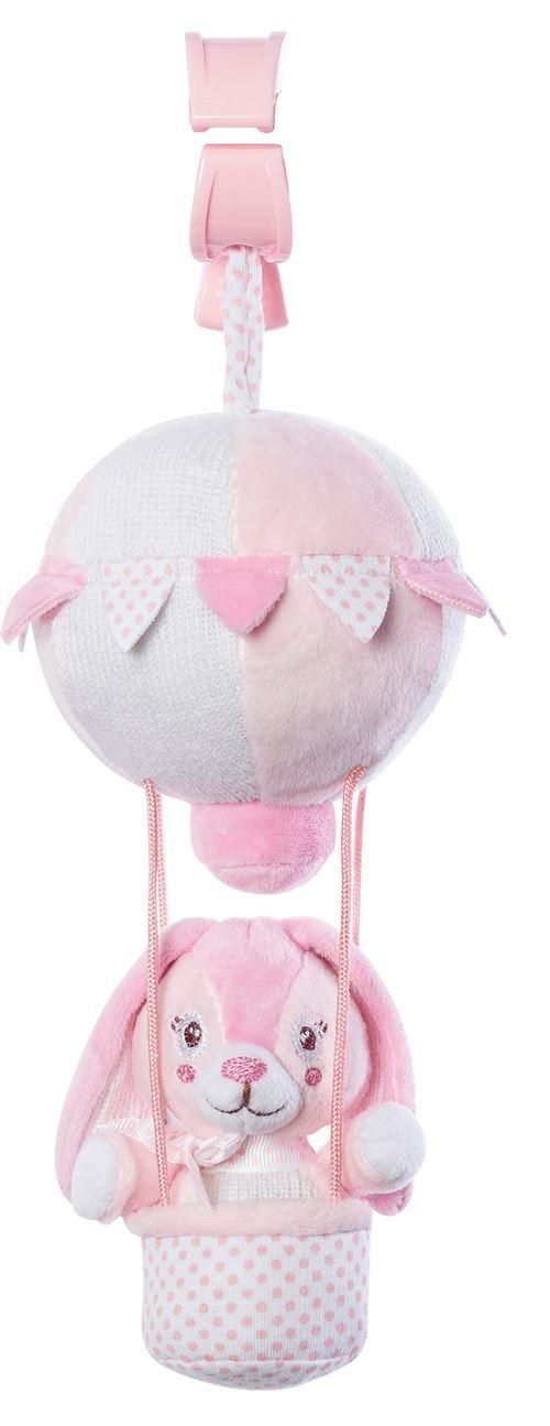 Saro figure suspendue montgolfière avec hochet lapin rose