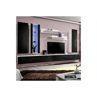 Meuble Tv Mural Design Fly Iv 320cm Noir Blanc