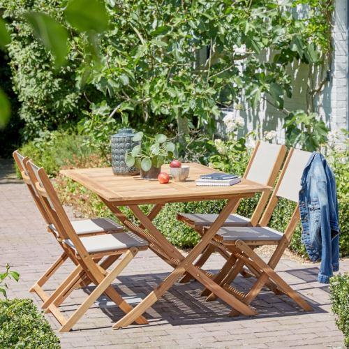Salon de jardin en bois d\'acacia FSC 4 à 6 places - Mobilier de ...