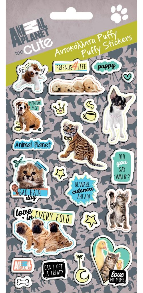 Animal Planet feuille d'autocollants Puffy Too Cute junior 10 x 22 cm vinyle