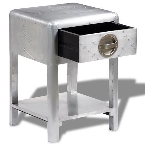 vidaXL Table de coin avec 2 tiroirs vintage Style d/'aviation