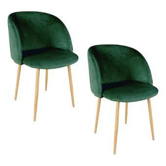 ypos lot 2 chaises en velours 555x60xh83cm vert achat prix fnac - Chaise Verte