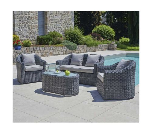 Salon de jardin en aluminium / résine tressée, coloris gris -PEGANE-