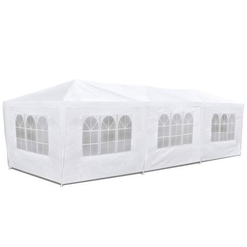 Tente de réception événementielle 3x9m étanche 8 murs avec fenêtre Blanc -McHaus