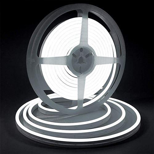 Bande lumineuse LED Silicone souple couleur néon étanche DC 12V 5m -blanc
