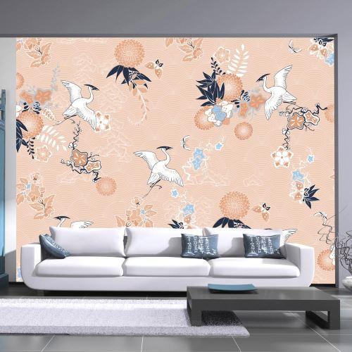Papier peint - Dance of herons - 150x105 - Orient -