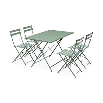 Salon de jardin bistrot pliable - Emilia rectangulaire vert de gris - Table  110x70cm