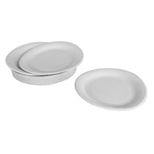 set 50 assiettes en carton ø23cm - blanc - 270grs/m² - chromotriplex
