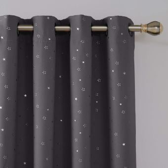 Deconovo lot de 2 rideaux gris fonc occultants oeillets Rideaux occultants thermiques et phoniques
