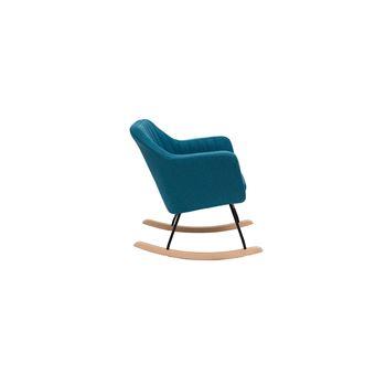 10 Sur Fauteuil Rocking Chair Scandinave Tissu Bleu Canard Aleyna