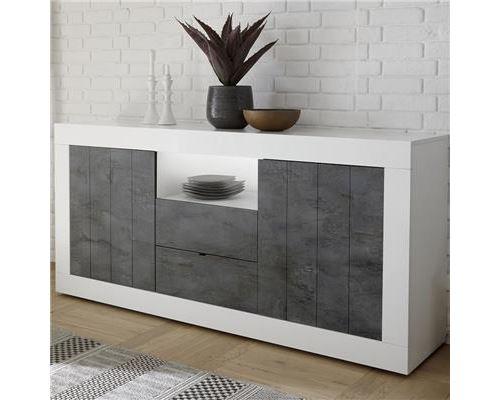 Bahut 180 cm moderne blanc effet béton gris URBAN 6 - L 180 x P 42 x H 86 cm