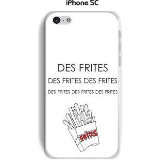 Onozo Coque Apple iphone 5C design Citation Des frites des frites Texte noir fond blanc