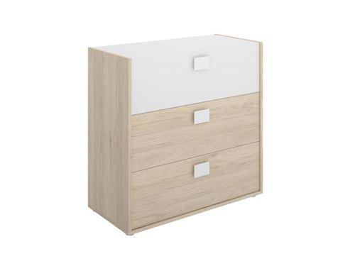 Commode SONIA - 3 tiroirs - Coloris : Chêne et blanc