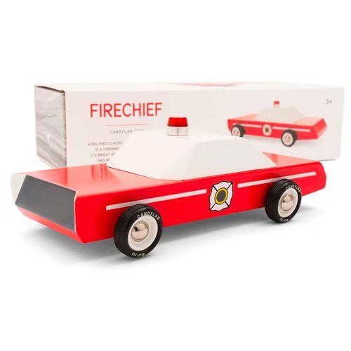 Petites voitures et mini modèles rétro classiques en bois Candylab Americana Véhicules design pour enfants et adultes - Fire Chief M0302