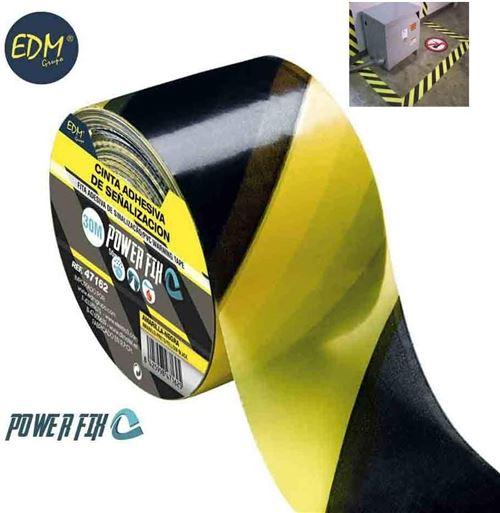 EDM Ruban adhésif de signalisation Jaune-noir 30 m x 50 mm